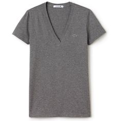 Lacoste Women's Short-Sleeve Cotton Jersey V-Neck T-Shirt ($27) ❤ liked on Polyvore featuring tops, t-shirts, sport tee, lacoste t shirts, v-neck tee, polo shirts and short sleeve tee