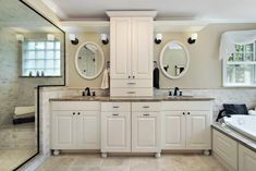 Another somewhat symmetrical bathroom featuring dual basins with mirrors white cabinetry and window side bathtub. Master Bath Vanity, White Master Bathroom, Small Bathroom, Bathroom Ideas, Master Bathrooms, Shower Ideas, Master Bedroom, Bathroom Pics, Bathroom Black