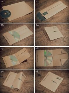 DIY How to make a CD case with one piece of paper! DIY How to make a CD case with one piece of paper! DIY How to make a CD case with one piece of paper! Cd Diy, Pochette Cd, Cd Cases, Crafty Craft, Paper Crafting, Diy Paper, Kraft Paper, Recycle Paper, Origami Paper