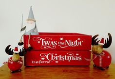 Christmas Eve Box, Christmas Box, Xmas Eve Box, Xmas Eve Crate, Xmas Crate, Xmas Box, Goodie Box, Christmas Hamper, Gift Box, Night Before by FioreCrafts on Etsy Diy Christmas Eve Box, Xmas Eve Boxes, Easy Christmas Decorations, Christmas Hamper, Christmas Signs, Christmas Projects, Simple Christmas, Holiday Crafts, Christmas Time