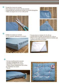 Tutoriel fiche couture Frou-Frou pas à pas coussin futon DIY pour l'Hiver
