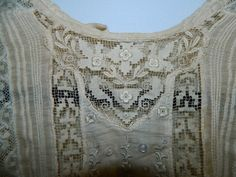 antique blouse with crochet lace and pintucks