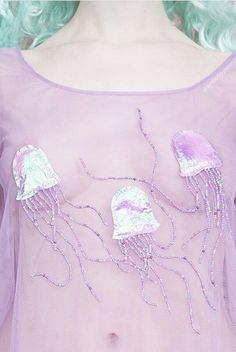 Love this sheer and beaded jellyfish top by Amber Louise Snow x