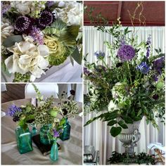 Wedding flowers bouquet table centerpiece plum purple cream green