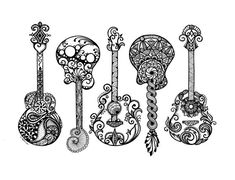 Acoustic Guitars, Zentangle, Art, Drawings, Pen and Ink, Black and White, Hand Drawn, Custom Art, Or