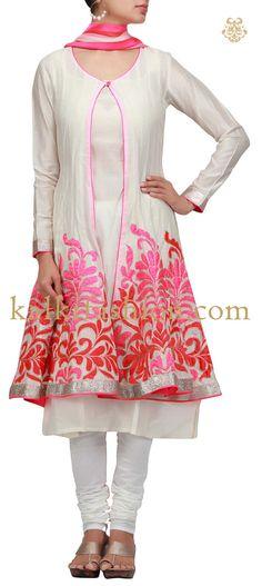 Buy it now http://www.kalkifashion.com/anarkali-dress-in-white-with-patch-work.html Anarkali dress in white with patch work