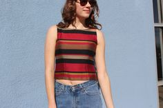 Metallic Striped Fitted Tank Top Small Vintage Black and Red Striped Tank Top Pleated Metallic Tank Top Small Medium Striped Tank by DiveVintage from Passport Vintage. Find it now at http://ift.tt/2lBH6Bu!