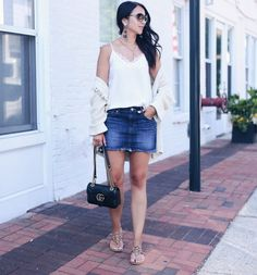 blogger Anna Monteiro of Blushing Rose Style wearing denim mini skirt from Express and Lush lace trim camisole from Nordstrom Anniversary sale 2017