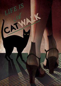 Art Deco Bauhaus A3 Poster Print Vintage 1930's Cat Fashion Vogue Style 1940's - CATWALK