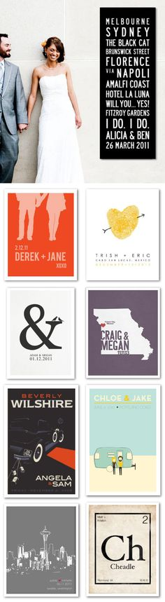 Custom wedding posters — would make a great wedding gift or could be used as an alternative guestbook - #personalized