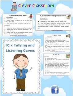 10 x Talking and Listening Games - PDF file10 page teaching resource designed by Clever Classroom.I can never seem to lay my hands on any g...