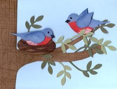 sweet handmade card ... two robins ... one on a nest ... the other on a limb ... two-step bird punch ... Stampin' Up!