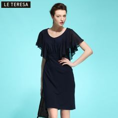 $64.00  2013 spring new brand women's counters authentic flounced chiffon stitching was thin primer dress