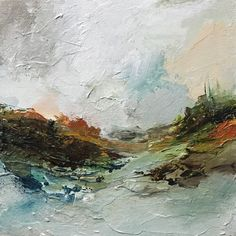 AMBIENCE by Monika Kralicek Small palette knife painting, abstract landscape on birch panel