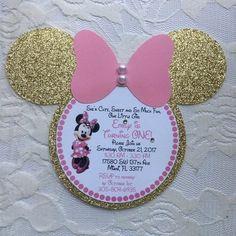 Minnie Mouse Invitation- Minnie Mouse Birthday Invitation- Minnie Mouse Head Invitation- Pink and Gold Minnie Mouse Invitation Minnie Mouse Birthday Invitations, Minnie Mouse First Birthday, Minnie Mouse Birthday Decorations, Minnie Mouse Baby Shower, Minnie Mouse Pink, Pink Invitations, Girl Birthday, Invitation Birthday, Princess Birthday