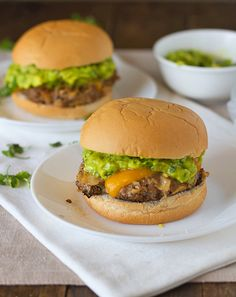 Southwest Chipotle Burgers w/ Guacamole -- calls for crushed chips instead of bread crumbs to make the burgers! Yum!