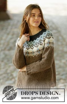 Knitted jumper with round yoke in DROPS Air. Piece is knitted top down with Nordic pattern. Size: S - XXXL Knitting Gauge, Knitting Stitches, Knitting Yarn, Free Knitting, Fair Isle Knitting Patterns, Fair Isle Pattern, Sweater Knitting Patterns, Drops Design, Jersey Jacquard