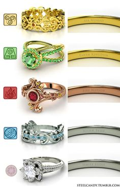 Proposed Avatar rings in various shades of gold!  (Based on some Gemvara rings and rendered in cool types of gold.)