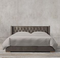 Adler Shelter Diamond-tufted Leather Platform Bed With Nailheads