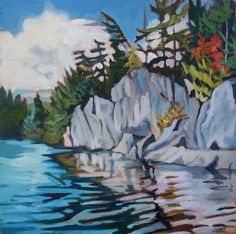 Acrylic on Canvas Art Articles, Watercolor Paintings, Oil Paintings, Find Art, Quilt Patterns, Images, Quilts, Rocks, Canoes