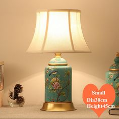 Chinese rural blue flower bird ceramic small Table Lamps Vintage fabric shade copper base E27 LED lamp for bedside&foyer MF041