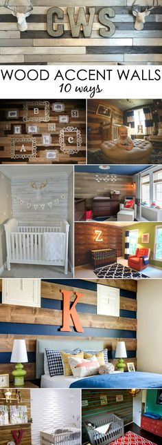 10 Nursery Wood Accent Walls - from DIY wood pallet walls to stick-on wood wallpaper, here are 10 ways to do it!