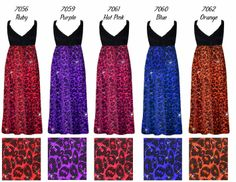 Ruby, Hot Pink, Orange, Purple or Blue Glitter Leopard Glimmer Plus Size Slinky Black Empire Waist Dress add Matching Wrap 0x 1x 2x 3x 4x 5x 6x 7x 8x