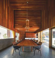 Dark timber ceiling over tall voume Panoramic window Lake Wendouree House  John Wardle Architects ArchitectureAU