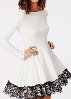 Lace Panel White Long Sleeve Dress                                                                                                                                                                                 More