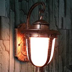 Outdoor Wall Light, 1 Light, Vintage Aluminum Glass Painting – GBP £ 25.91