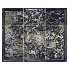 Parisian Boulevard Map - Set of 9 from Z Gallerie