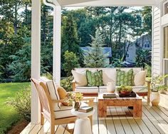 See How One Designer Moved Back Home to Build Her Dream Cottage- Back Porch Outdoor Spaces, Outdoor Living, Outdoor Decor, Outdoor Patios, Outdoor Projects, White Cottage, Farm Cottage, Cottage Homes, Farm House