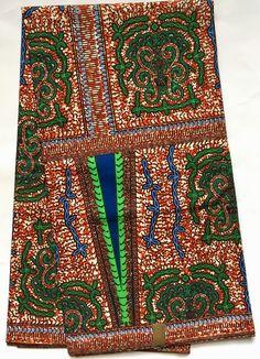 African Print Fabric/ Ankara - Brown, Green, Blue 'Seal of Umari 3.0', YARD or WHOLESALE by HouseOfMamiWata on Etsy