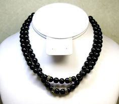 50's VINTAGE OLD PLASTIC NECKLACE WITH BLACK ROUND BEADS & CRYSTAL PAVE BEADS