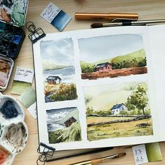 Artist Shares Beautiful Watercolor Studies of Landscapes From Her Sketchbooks – Crazy Hippo Watercolor Sketchbook, Watercolor Artwork, Watercolor Artists, Gouache Painting, Watercolor Landscape, Watercolor Illustration, Arte Sketchbook, Guache, Wow Art