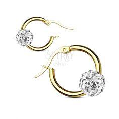 Okrúhle náušnice z ocele 316L, hladký krúžok zlatej farby so Shamballa guličkou | Šperky Eshop Engagement Rings, Jewelry, Fashion, Enagement Rings, Moda, Wedding Rings, Jewlery, Jewerly, Fashion Styles