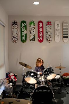 Both my boys would love this as a room- not only a drum kit but skate boards