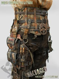 Post Apocalyptic costume - corset and leg pouch. SALVAGED Ware by Mark Cordory Creations. Enquiries always welcome @ www.markcordory.com