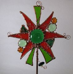 stained glass garden stakes patterns | Home garden decor Stained Glass Copper Abstract Garden Art Stake Red ...