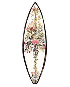 Island Queen - surfboard design, illustration, bohemian, island boho, floral, vintage, beach, surf, skate, island, Hawaii, art print,decor