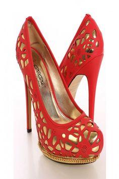 Red Cutout Metallic Pump Heels