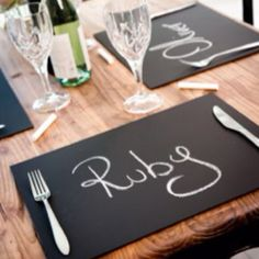 Black board place mats