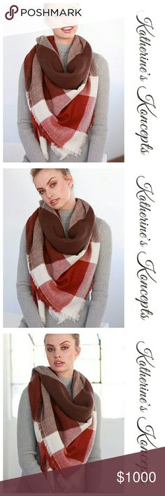 """Just in!!! Red Earth Tone Plaid Blanket Scarf New boutique super soft, Red Earth tone, big plaid, oversized blanket scarf!!! 58"""" x 58"""" and 100% acrylic. Available in many other colors on my page. These will be $15 each! Save even more by bundling. ❤The item you see is the exact item you will receive. Shop with confidence! ♥Brand new boutique items ♥100% Smoke and pet free environment  ♥Same or next business day shipping ♥Bundle discounts 10% ❌No trades. Sorry ladies! Katherine's Koncepts…"""