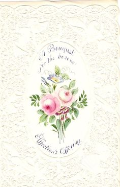 Victorian Valentine Card - circa 1856,,,  Hand painted....Lovely!