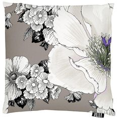 A lovely large-scale floral cushion in neutral brown from Helsinki based Vallila Interiors. Exclusive in NZ to Harvey Furnishings. Brown Cushion Covers, Floral Cushions, Large White, White Flowers, Amanda, Fabrics, Living Rooms, Shops, Internet