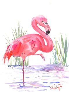 Flamingo art one of akind painting pink flamingos, original watercolor painting 15 x 12 in