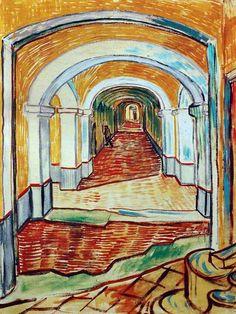 Vincent Van Gogh - Post Impressionism - Saint REMY - Corridor de l'asile - 1889