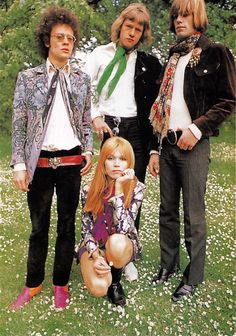 Nigel Waymouth (left) wearing a William Morris print jacket from Granny Takes a Trip. Photograph by Colin Jones, 1967. (With Rufus Potts Dawson, Amanda Lear and Jess Down from English Boy ltd).
