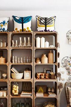 DIY crate bookshelves