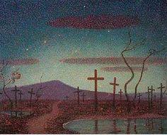 "Twentieth Century British Art by Claude Francis Barry: ""Monte Cassino, circa Post Impressionism, The Twenties, Oil On Canvas, Modern Art, Northern Lights, Sunrise, Religion, Clouds, Artist"